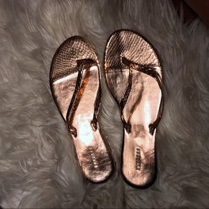 NEW! Express Rose Gold Exotic Print Sandals Sz 7